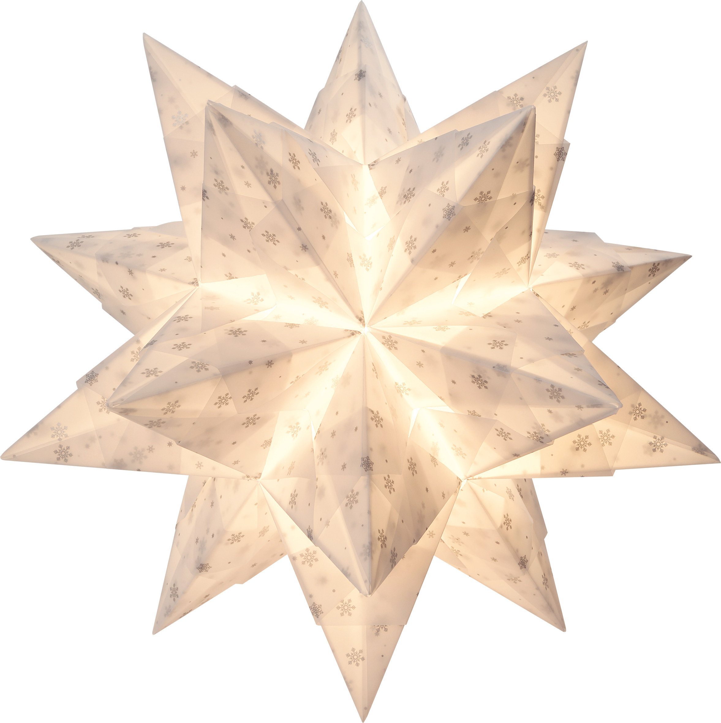 Bascetta Stern Transparentpapier Schneeflocken Weißsilber 20x20 Cm