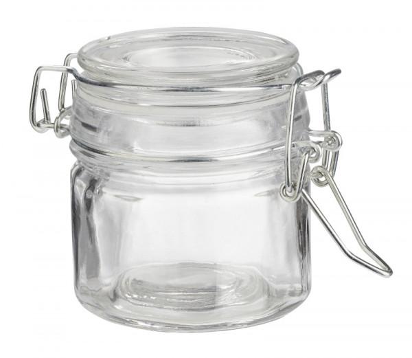 Deko-Glas rund 7x5,8cm ca.100ml Glas und Dichtring Lebensmittelecht ...