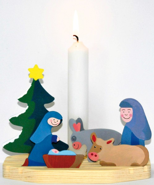 Mini Bastel-Krippe mit Kerzenhalter