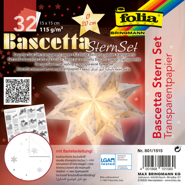 Bascetta Stern Transparentpapier Schneeflocken Weißsilber 15x15 Cm